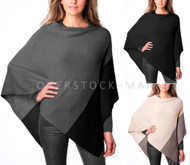 WOMENS CELESTE COLORBLOCK CASHMERE & WOOL BLEND PONCHO SWEATER