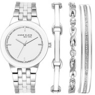 Anne Klein New York Women's Silver Tone Watch and Bracelet Set 12/2243SVST
