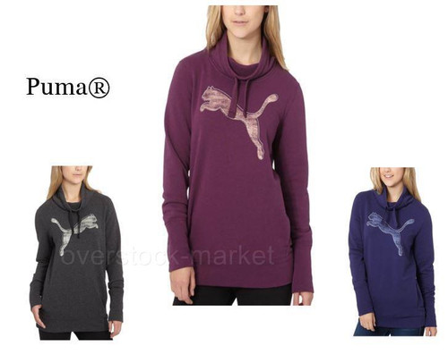 4096c402a145 WOMENS PUMA FRENCH TERRY COWL NECK LOGO PULLOVER - Overstock Market