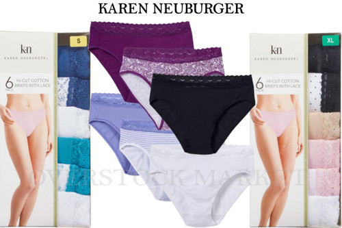 384489b50be ... WOMENS KAREN NEUBURGER HI-CUT COTTON BLEND BRIEFS WITH LACE 6 PACK.  Image 1