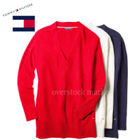 WOMENS TOMMY HILFIGER V-NECK TUNIC PULLOVER SWEATER
