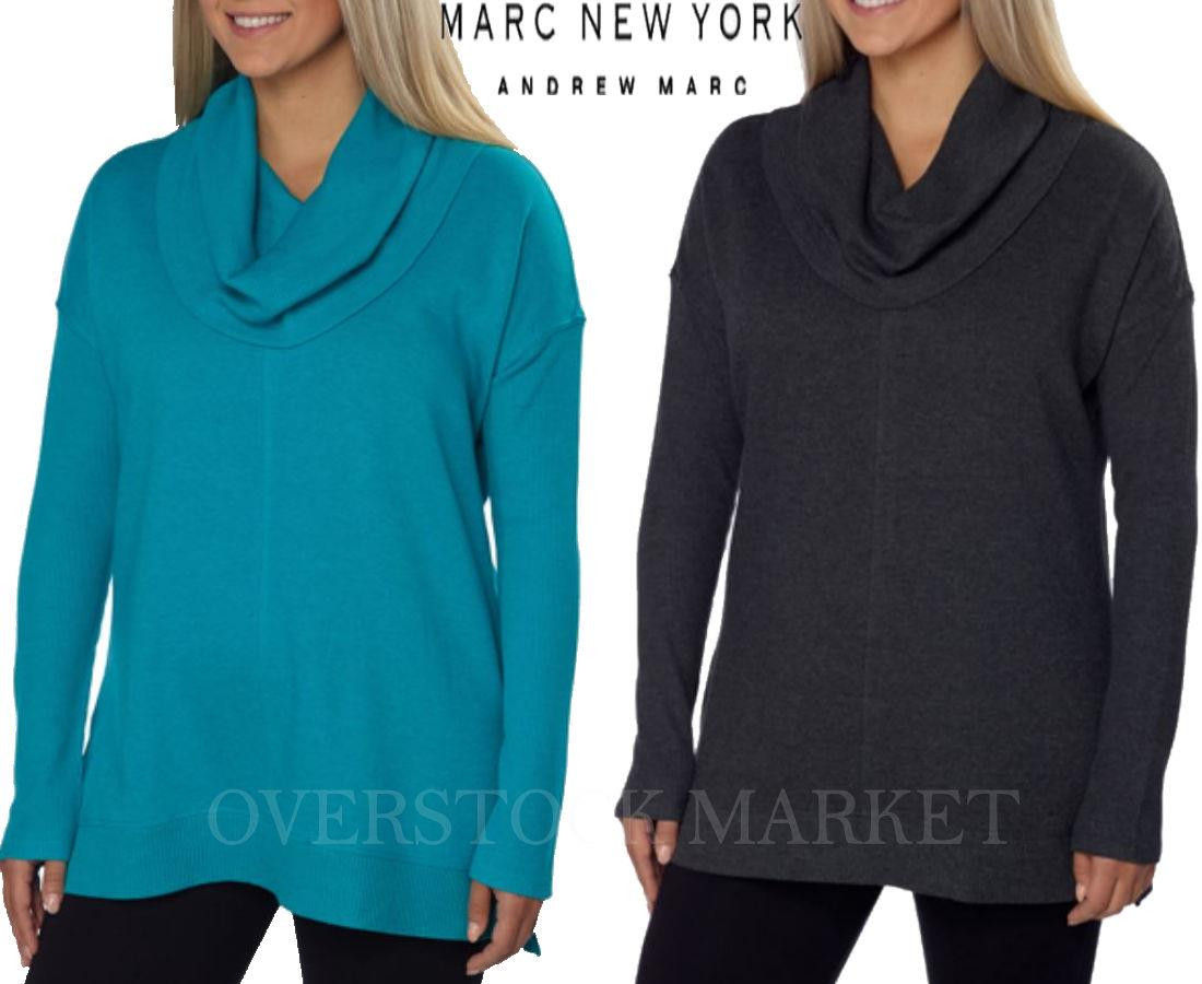 VARIETY WOMENS/' MARC NEW YORK ANDREW MARC THERMAL HOODED COTTON BLEND PULLOVER
