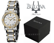 Bulova Stainless Steel 24 Diamond Accented Two Tone Watch 98R226