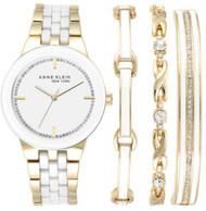 Anne Klein New York Women's Gold Tone Watch and Bracelet Set 12/2242GBST