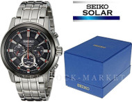 NEW MENS SEIKO STAINLESS STEEL SOLAR CHRONOGRAPH BLACK DIAL WATCH SSC389