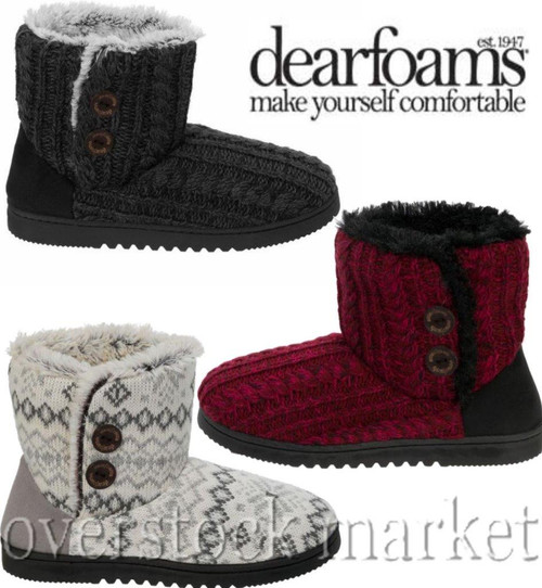 ad7044138cab Women s Dearfoams Sweater Knit 2 Button Bootie Slippers - Overstock ...