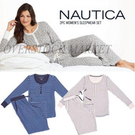 WOMENS NAUTICA 2 PIECE PAJAMA SET LOUNGE SET! TEXTURED MICROFLEECE