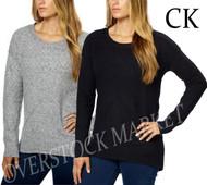 WOMENS CALVIN KLEIN CREW NECK HIGH-LOW HEM PULLOVER SWEATER
