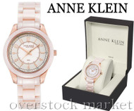 Anne Klein Blush Ceramic Champagne Rosegold-Tone Crystal Watch 12/2224RGLP