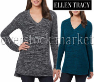 WOMEN'S ELLEN TRACY KNIT V-NECK MARLED PULLOVER SWEATER!