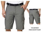 MEN'S WEARFIRST FREE-BAND BELTED CARGO SHORTS! COMFORT FLEX WAIST!
