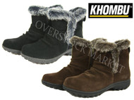 WOMENS KHOMBU LISA THERMOLITE ALL TERRAIN SUEDE & FAUX FUR BOOTIES !
