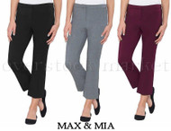 WOMENS MAX & MIA CAPRI CROP DRESS PANT! STRETCH COMFORT FIT!