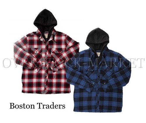 cd441513bc71 NEW! MEN S BOSTON TRADERS HOODED FLANNEL SHIRT JACKET! QUILTED LINED ...