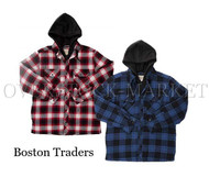 NEW! MEN'S BOSTON TRADERS HOODED FLANNEL SHIRT/JACKET! QUILTED LINED!