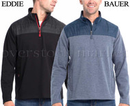 MENS EDDIE BAUER MIXED MEDIA 1/4 ZIP PULLOVER TOP!