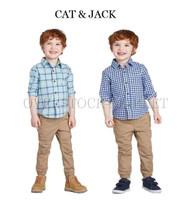 NEW! TODDLER BOYS CAT & JACK LONG SLEEVE WOVEN BUTTON DOWN SHIRT!