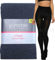 WOMENS YUMMIE BY HEATHER THOMPSON 2 PACK OPAQUE TIGHTS