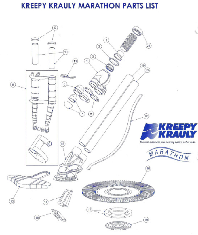 Kreepy Krauly Marathon Swivel Head Assembly Genuine
