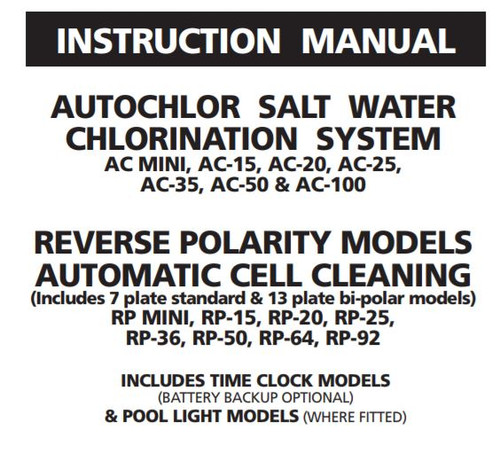 AutoChlor Chlorinator Instruction Manual