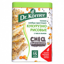 "Dr. Korner Crispbread ""Corn-rice"", with chia and flax (100g)"