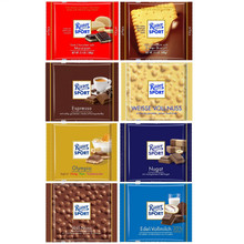 Assorted 8 Ritter Sport (Dark with Marzipan, Butter Biscuit, Espresso, White with Whole Hazelnuts, Olympia, Nougat, Chocolate with Whole Hazelnuts)