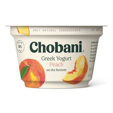 Chobani Non-Fat Greek Yogurt, Peach 5.3oz