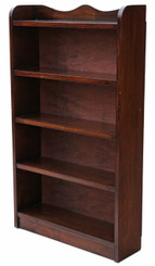 Mahogany open bookcase display shelves
