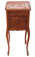 French Walnut marble bedside table cupboard cabinet