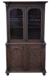 Padauk Victorian carved Anglo Indian glazed bookcase display cabinet