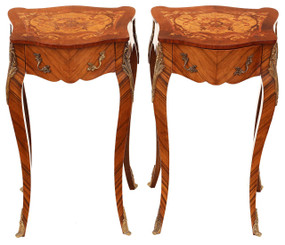 Pair of French kingwood marquetry bedside tables cabinets