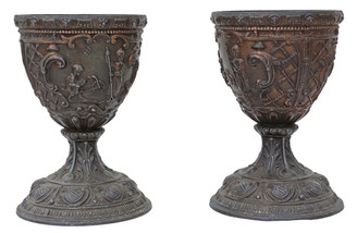 Pair of early 20th Century Gothic bronze goblets