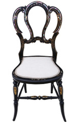 Victorian mother of pearl inlaid bedroom side chair