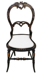 Victorian mother of pearl inlaid bedroom chair side