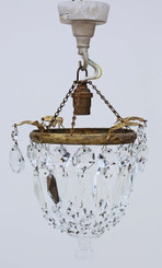 Small ormolu brass crystal chandelier FREE DELIVERY