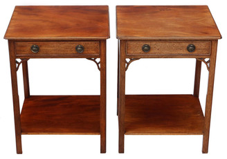 Pair of mahogany bedside tables cupboards cabinets lamp