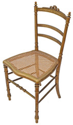 Victorian gilt cane inlaid bedroom side hall chair C1900