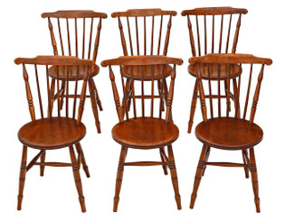 Set of 6 Victorian beech & elm penny Windsor kitchen dining chairs