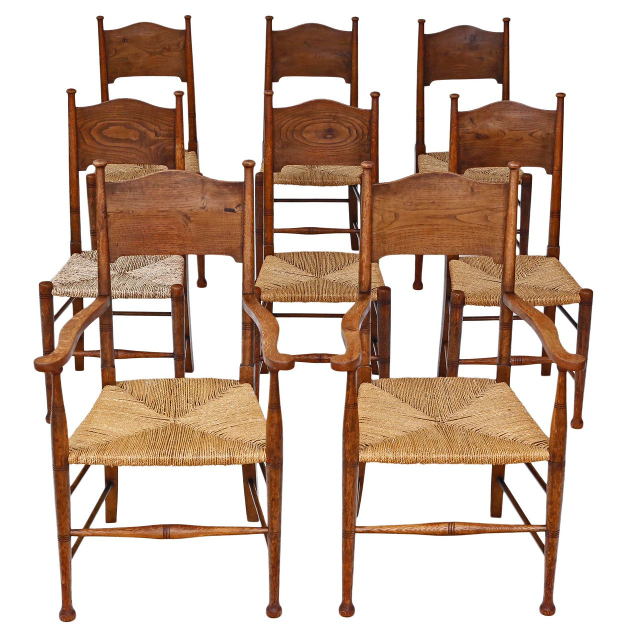 Set Of 8 6 2 Oak And Elm Arts Crafts Dining Chairs West Norfolk Antiques