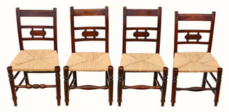 Mixed set of 4 elm 19th Century kitchen dining chairs