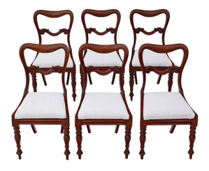 Set of 6 Victorian mahogany balloon back dining chairs