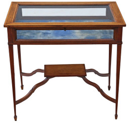 Edwardian C1905 inlaid mahogany bijouterie display table