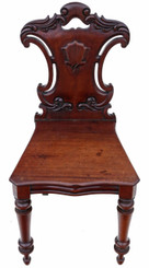 Victorian C1850-70 carved mahogany hall chair