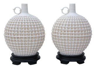 Pair of Oriental reticulated bottle vases