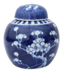 Blue & white Oriental Chinese ceramic ginger jar with lid