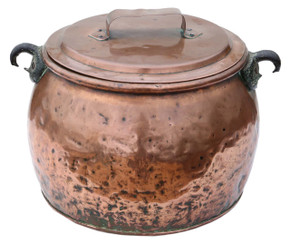 Victorian copper cook pot pan planter