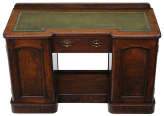 Victorian burr walnut twin pedestal desk or writing table