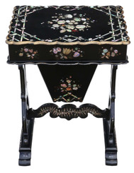 19th Century decorated work side sewing table box