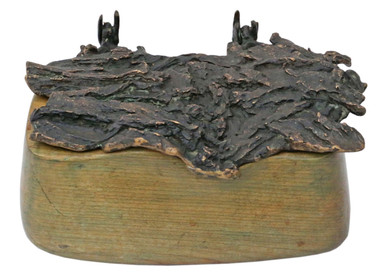 Wood and bronze contemporary box sculpture work of art