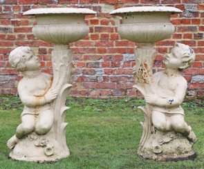 Pair of large of cast iron planter